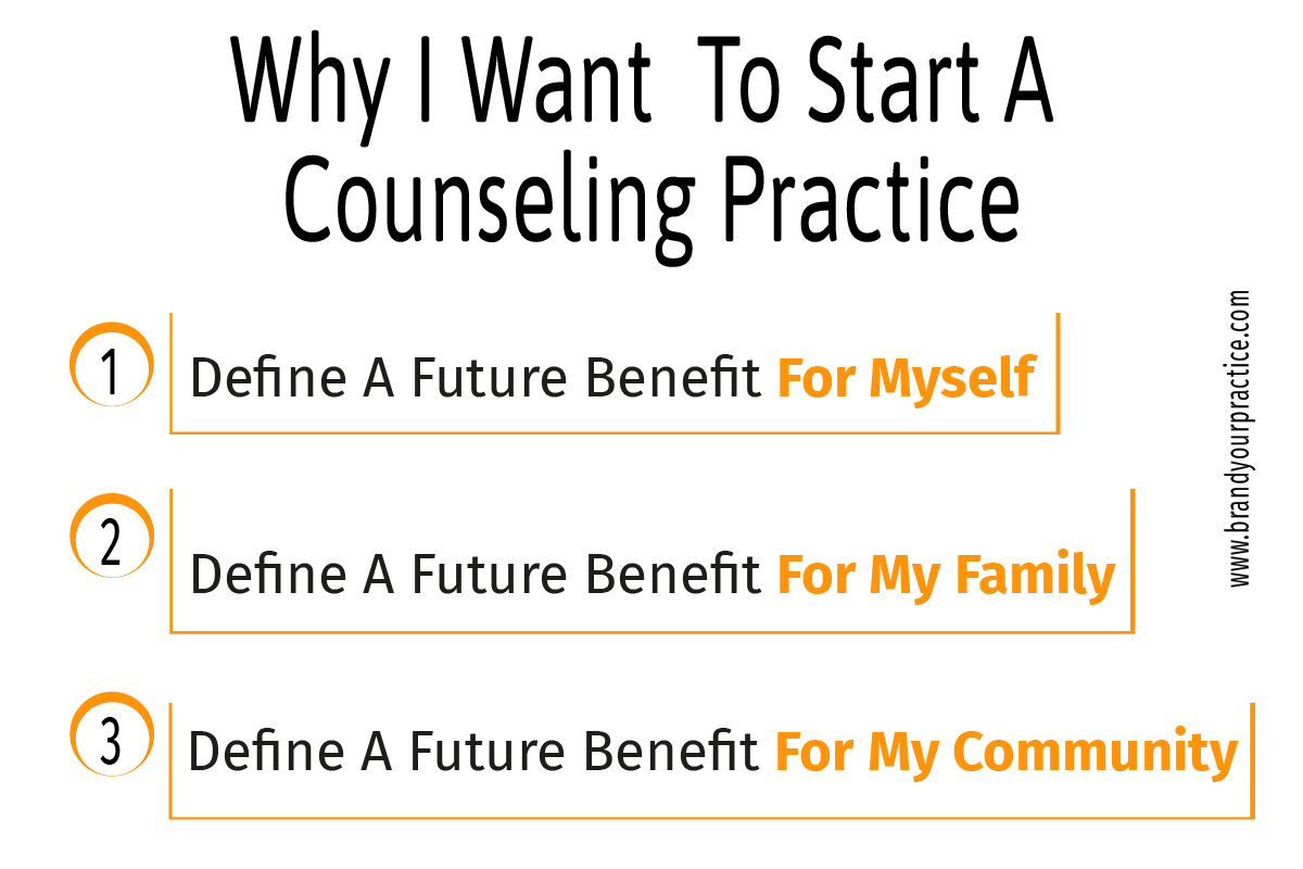 Why I want to start a counseling practice infographic - Brand Your Practice