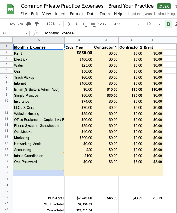 Budget Template - Brand Your Practice